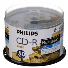 飞利浦(PHILIPS)CD-R 52速 700M 黄金版面 桶装50片 刻录盘