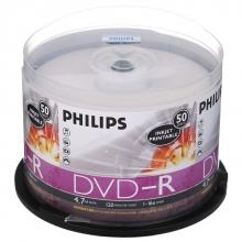 飞利浦(PHILIPS)DVD-R 16速 4.7G 可打印 桶装50片 刻录盘