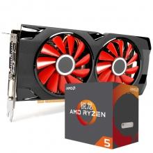 讯景(XFX)RX 570 4G 黑狼版显卡+锐龙AMD Ryzen5 1600X CPU显卡套装