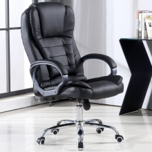 欧奥森 电脑椅家用办公可躺老板椅子大班转椅座椅会议椅主播椅 S212-03-黑钢脚