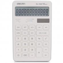 得力(deli)1548A商务办公桌面计算器 太阳能双电源白色