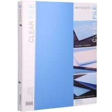 可得优(KW-triO) 加厚资料册插袋文件册活页文件夹 办公册 单只装 W-304 蓝色(40页)