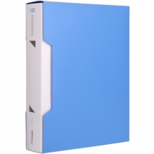 可得优(KW-triO) 加厚资料册插袋文件册活页文件夹 办公册 单只装 W-310 蓝色(100页)
