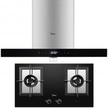 美的(Midea)智能高温洗 5.0KW大火力 欧式抽油烟机灶具套装(天然气)DT518R+Q780B