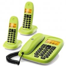 摩托罗拉(Motorola)CL102C数字无绳电话机座机子母机中文显示套装办公家用一拖二固定无线座机(青柠色)