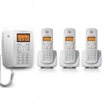 摩托罗拉(Motorola)C4203C数字无绳电话机/座机/子母机来电显示低辐射家用办公一拖三固定无线座机(白色)