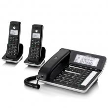 摩托罗拉(Motorola)C7002C数字无绳电话机/座机/子母机通话录音中文显示免提家用办公一拖二固定座机(黑色)
