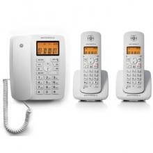 摩托罗拉(Motorola)C4202LC数字无绳电话机/座机/子母机免提来电显示家用办公一拖二固定无线座机(白色)