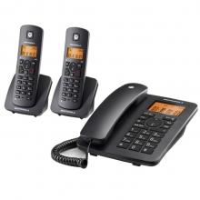 摩托罗拉(Motorola)C4202LC数字无绳电话机/座机/子母机免提来电显示家用办公一拖二固定无线座机(黑色)
