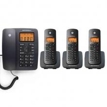 摩托罗拉(Motorola)C4203C数字无绳电话机/座机/子母机来电显示低辐射家用办公一拖三固定无线座机(黑色)